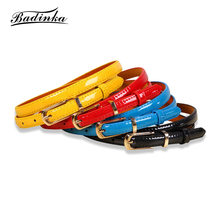 Badinka 2018 New Candy Colors Black White Blue Yellow Brown PU Thin Waist Belt Female Narrow Waistband Belts for Women Jeans(China)