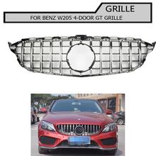 w205 Grille black gt gtr Front Bumper mesh Grill fit For  benz c-class 2015~2018 not for coupe and c63