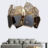 Italian Creative Design Luxury Black Glass Lampshade Hollow Carved LED Light 9/10/12 Light Pendant Light Fixture Kit Luminaire