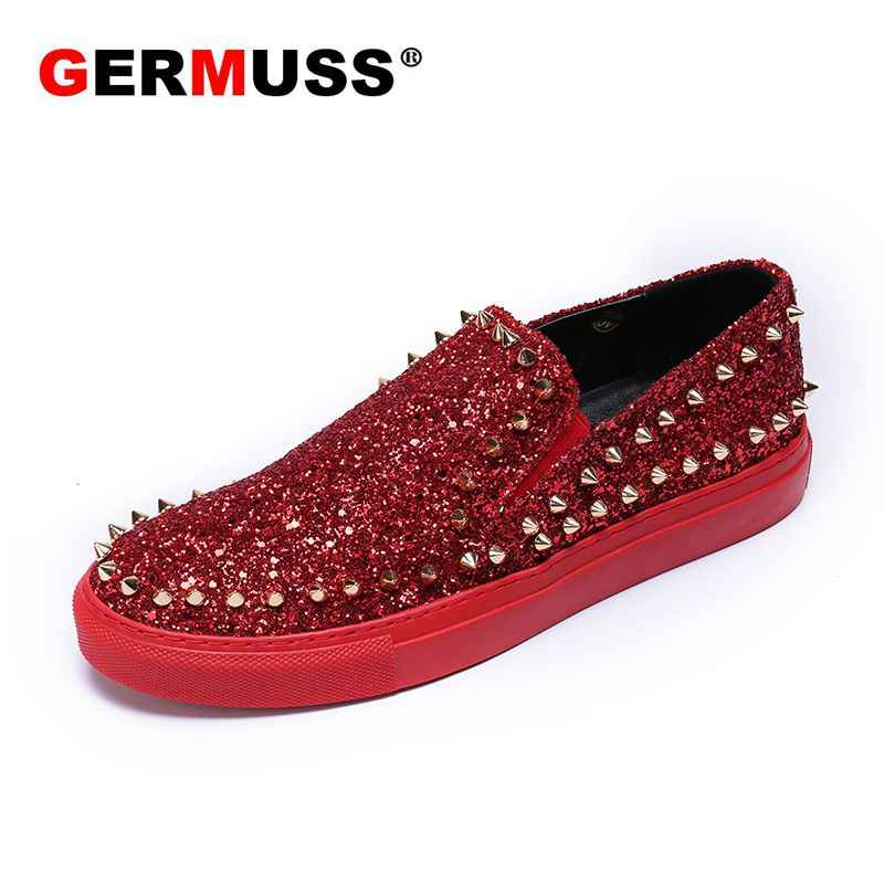 7ff34c4750035 Wholesale designer spikes men shoes Rivets Luxury Brand leather Mens  Loafers Red bottom sneakers Slip on