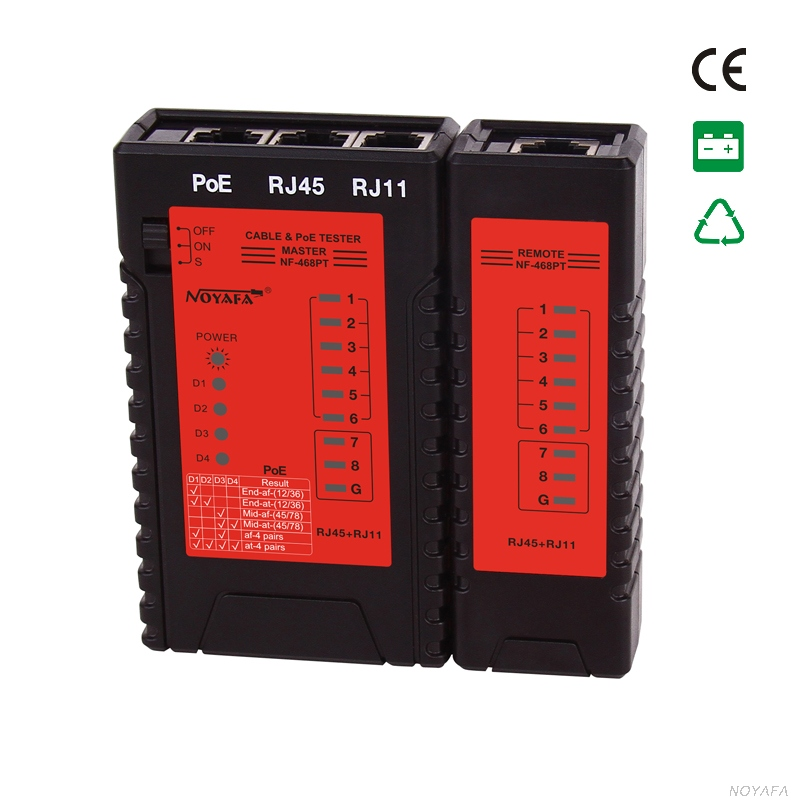 Top Quality NOYAFA NF-468PT POE Tester Verify RJ11 RJ45 Cable Detect PoE Identify 802.3 at/af Standard Test POE ...