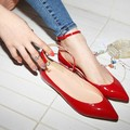 Spring 2017 Fashion Ankle Buckle Strap Women Flats Ladies Pointed Toe Flat Shoes Woman Patent Leather Casual Shoes Zapatos Mujer