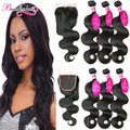 Indian Virgin Hair Body Wave With Closure 3 Bundles With Lace Closure 7A Unprocessed Virgin Indian Hair With Body Wave Closure