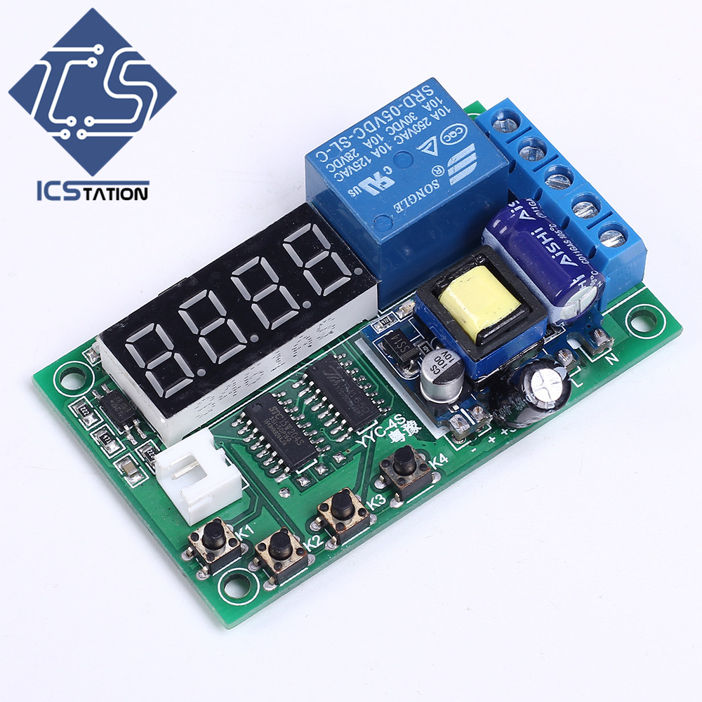 Trigger Delay Timing Cycle Relay Module Digital Display Board AC 220V for Eletromagnet Valves Motors Delay Relay Module 12v timing delay relay module cycle timer digital led dual display 0 999 hours