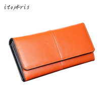Fashion Female Purse Genuine Leather Clutch Wallet Women ID Card Holder Phone Dollar Case Black Red