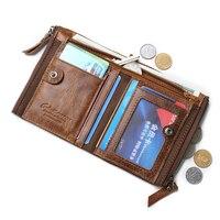 Genuine Leather Men Wallet Short Coin Purse Vintage Cow Genuine Leather Wallet Male Handmade Custom Dollar Price Coin Purse 2018