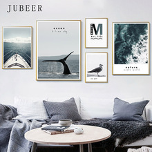 Mediterranean Landscape Nordic Combination Decorative Painting Sea View Steamship Living Room Poster and Print Home Decor