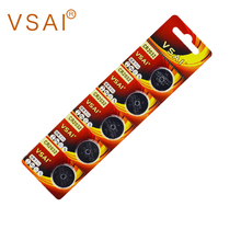 VSAI 5pcs/card CR2032 Long Standing 3V Lithium Button Battery BR2032 DL2032 Batteries For Watches