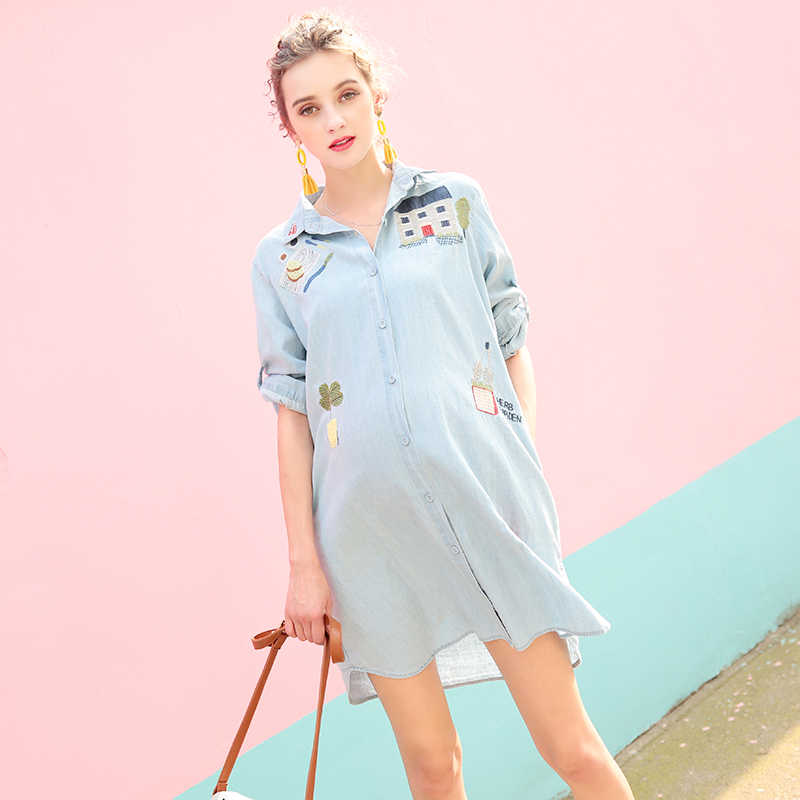 456655e1cac New Maternity Loose Jean Dress Button Denim Shirt Skirt Long Sleeve Dresses  Pregnant women Clothing Pregnancy