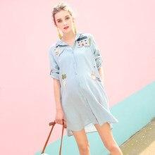 d06dec38b08 Nueva maternidad suelto Jean Botón de vestido Denim camisa falda vestidos  de manga larga las mujeres embarazadas ropa de embaraz.