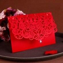 25 PCS หรูหรางานแต่งงานอุปกรณ์ตกแต่งจีนสีขาวสีแดงตัดเลเซอร์คำเชิญงานแต่งงานการ์ดเชิญ
