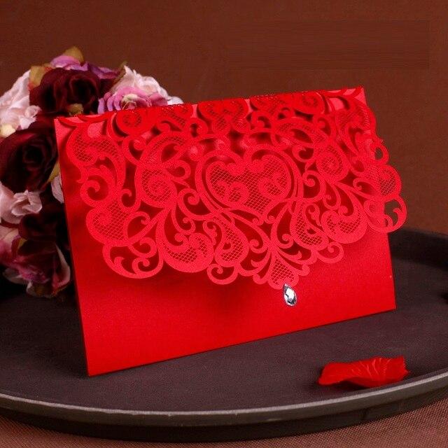 25 stücke Luxuriöse Hochzeit Dekoration Lieferungen China Weiß Rot Laser Cut Hochzeits einladungen Elegante Hochzeit Einladung Karten
