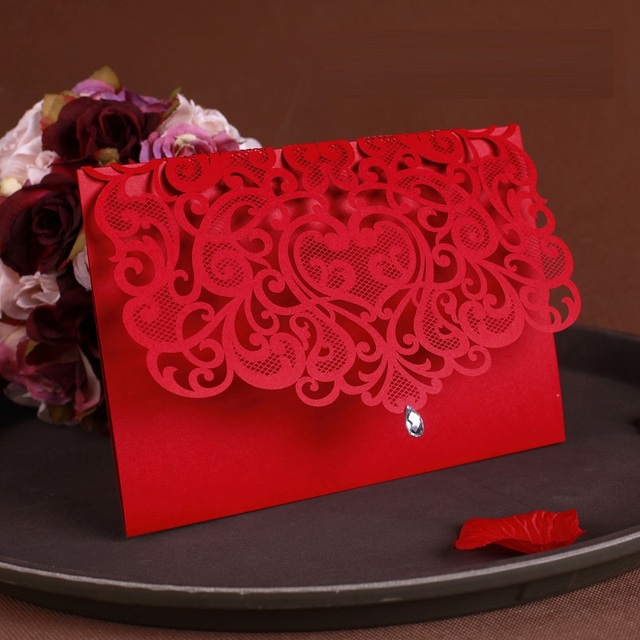 25pcs Luxurious Wedding Decoration Supplies China White Red Laser Cut Wedding Invitations Elegant Wedding Invitation Cards
