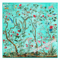 130 130cm Women Fashion Twill 100 Silk Euro Brand Flower And Birds Forest Printed Square Scarf