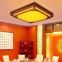 Estilo chinês luz de teto iluminação quarto lâmpada estudo antigo de madeira maciça quadrado levou moderna sala de estar lâmpadas ZH ZS55