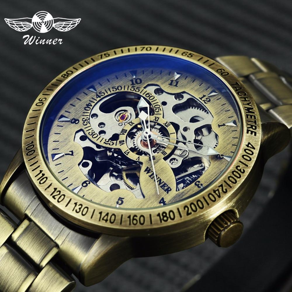 Ganador 2019 moda Militray reloj de los hombres de mecánica esqueleto Dial de cobre de acero inoxidable correa de relojes para hombre marca de lujo
