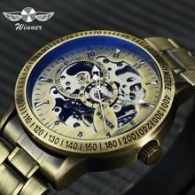 Победитель Мода 2019 г. Militray часы для мужчин Авто Механические Скелет циферблат Медь Нержавеющая сталь ремень для мужчин s часы лучший бренд класса люкс