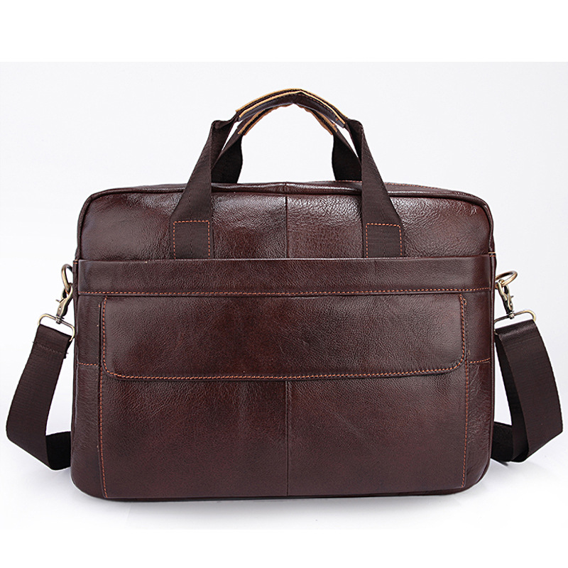 Genuine leather Business men briefcase bag real cow 100% Leather Laptop Business bag 14 15.4 inch Black brown