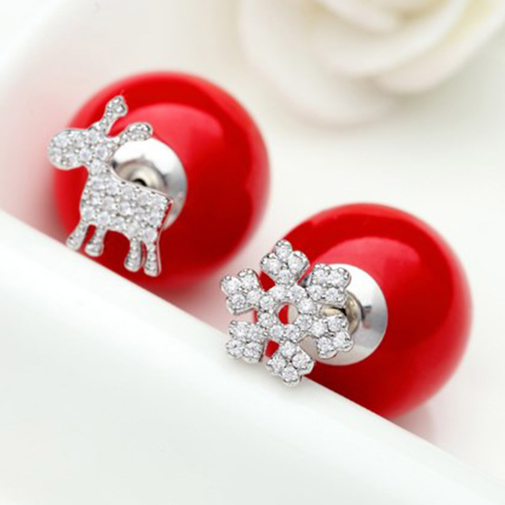 Christmas Ornaments Female Cute Little Deer Snowflakes Red After Hanging Double Sided Pearl Earrings Ear Jewelry