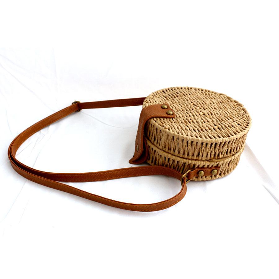 Round Straw Bag Women Handbags Rattan Messenger Crossbody Bags  Bohemia Shoulder Beach