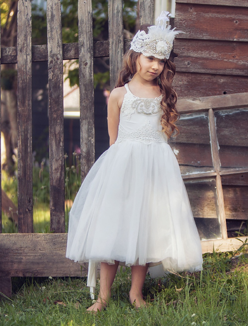 Lovely Crystal A-line Pageant Dress Spaghetti Straps O-Neck Mid-Calf White Flower Girl Dress For First Communion Wedding 0-12 Y double buckle cross straps mid calf boots