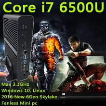Микро-Компьютер HTPC Windows10, Linux 2016 Новый 6Gen mini компьютер Intel HD Graphics 520 Мини PC Core i7 6600U 6500U Макс 3.1 ГГц