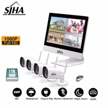 4CH CCTV camera security system 10.1 inch screen NVR1080P HD Outdoor surveillance P2P wifi remote anti-theft monitor 1TB