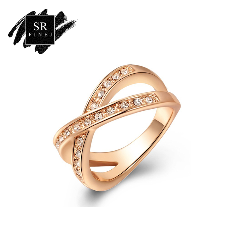 SR:FINEJ Romantic Jewelry Two Lows Cross Finger Rings for Women Gold Color Cubic Zirconia Crystal Ring for Wedding Party