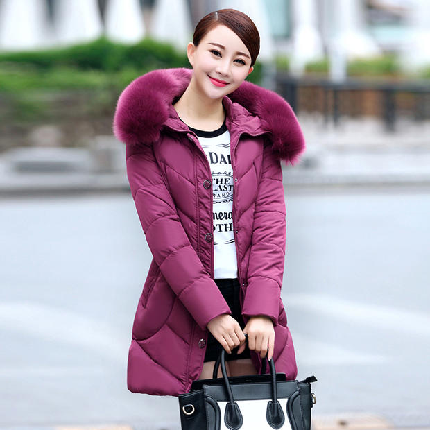 ФОТО Foxqueen 2016 New Fashion Brand Winter Women's Thick Parka Female Cotton Coat Fur Collar Quilted Hooded Jacket High Quality