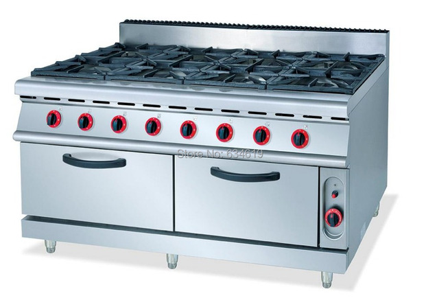 Commercial 8 Cookers Gas Kitchen Stove Food Cooking Propane Stainless Steel With