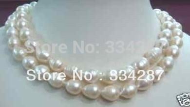 100% Selling Picture full 2 Row Rare 9-10mm South White Baroque Pearl Necklace