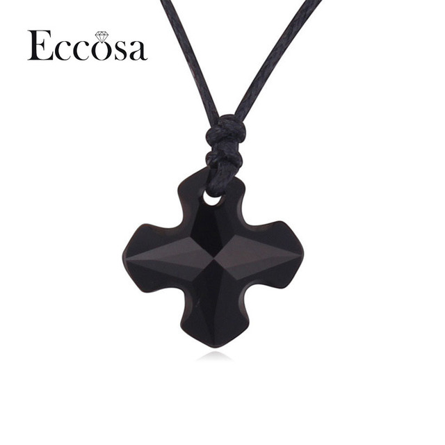 Eccosa Brand New Statement Necklaces & Pendants Original Austria Crystal From Swarovski Hot Elements Cross Necklace Jewelry Gift