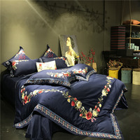 Deep Blue Luxury Egyptian Cotton Royal Bedding Sets Queen King size Oriental Chinese Embroidery Duvet cover Bed sheet set Gift