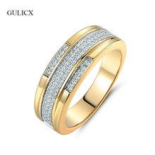 GULICX Shinning Finger Midi Rings For Women Gold Color Clear Crystal Cubic Zirconia Rings For Wedding Round Rings Jewelry R260