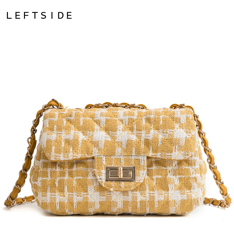 285d5830a0 LEFTSIDE Wool Crossbody Bags For Women 2018 Lattice Chain Shoulder Bag  Ladies Small Messenger Bags Luxury Handbags and Purse-in Top-Handle Bags  from Luggage ...