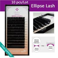 0.20 thickness Ellipse Flat False Eyelash extensions thinner tips ellipse root lighter than normal lashes 6pcs/lot