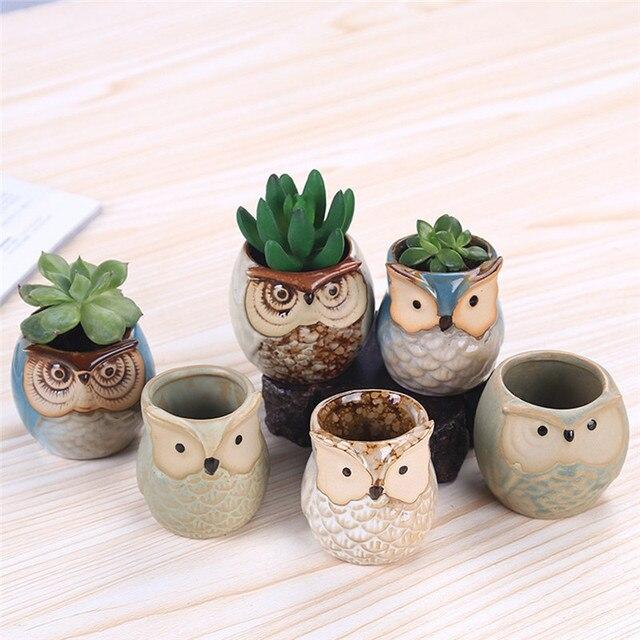 6 Pcs 2.5 inch Ceramic Owl Succulent Planter Pot Succulent Container Cactus Plant Pot Mini Flower Pot With Holes
