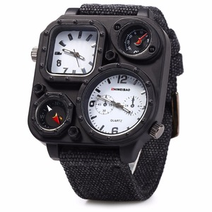 Image 5 - SHIWEIBAO J1169 Watches Men Big Dial Dual Movement Sport Quartz Watch Men Military Compass Canvas Wristwatches Relogio Masculino