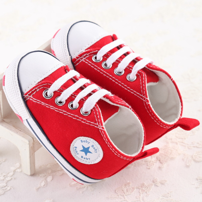 Fashion Star Canvas Baby Shoes Toddler Boy Shoes Lace-Up Infant Newborn Crib Shoes First Walker No-Slip Soft Soled