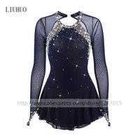 Фигурное катание платье Для женщин девочек Катание на коньках платье темно синий спандекс со стразами Высокая эластичность производительн
