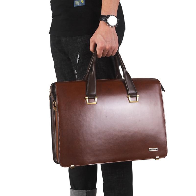 Moda famosa marca uomini d'affari borsa valigetta in pelle olio - Borse da lavoro - Fotografia 6