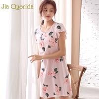 J&Q Pj Sleeping Dress Women 2019 Summer New Pink 100% Cotton Nighty For Ladies Night Wear Floral Nightgown Plus Size Nightdress