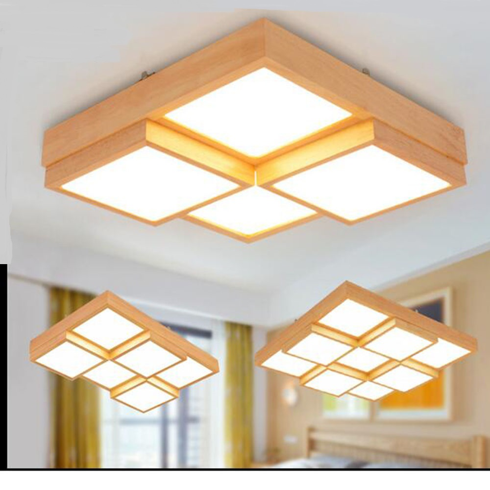 Nordic geometric LED ceiling lamp solid wood modern minimalist creative living room Acrylic Ceiling Lights log Japan South Korea