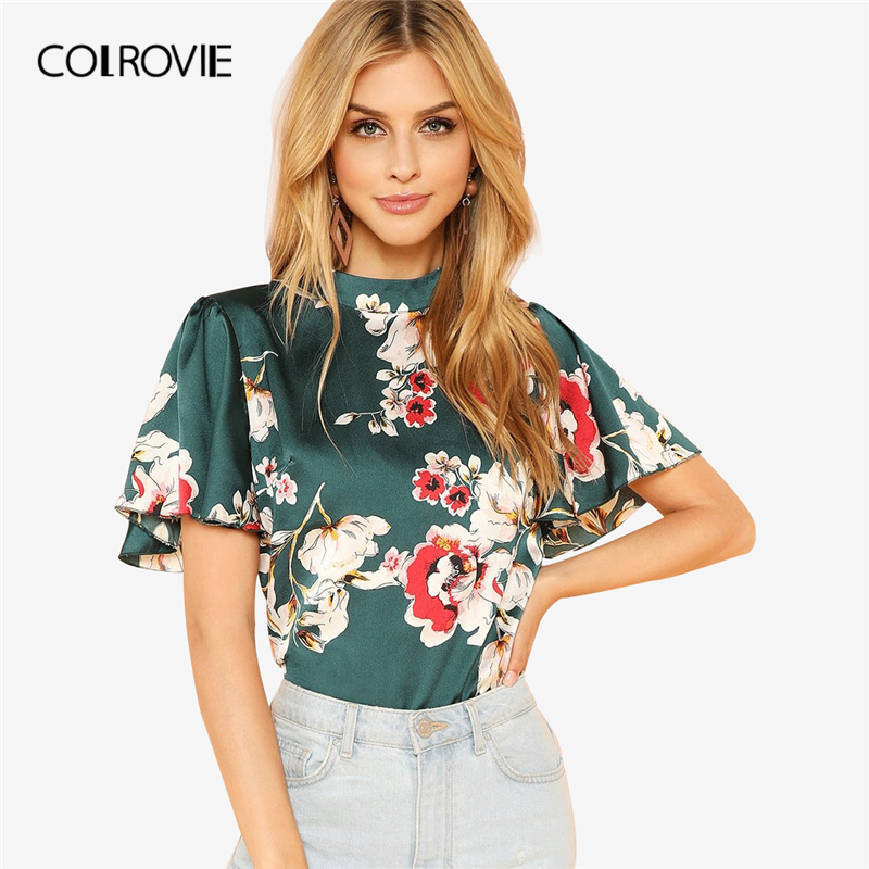 112468cfe COLROVIE Stand Collar Keyhole Back Floral Blouse Shirt Summer Butterfly  Sleeve Workwear Blouse Elegant Women Clothing