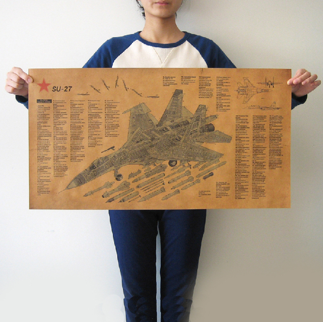 SU 27 Russian Fighter Plane Vintage Paper Poster Retro Living Room Wall Art Crafts Sticker