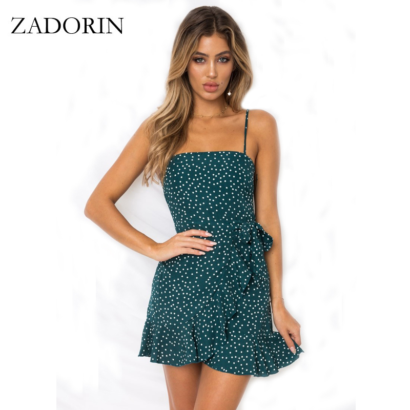 ZADORIN New Summer Women Bohemian Beach Dress Sexy Spaghetti Strap Ruffle Polka Dot Mini Dress Backless Boho Party Club Dresses polka dot