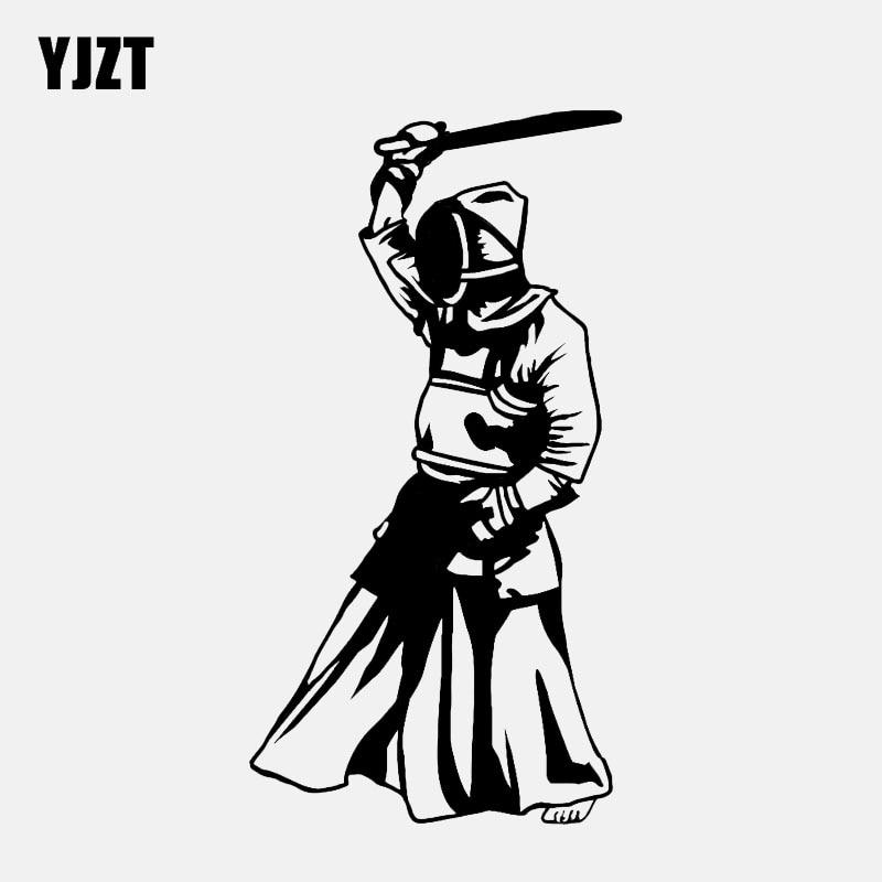 YJZT 7.4*14.1CM Fashion Kendo Decor Car Sticker Vinyl Accessories Extreme Sport Black/Silver C12-1443