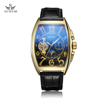SEWOR Men Watches 2017 New Gold Case Tourbillon Clock Tonneau Watch Automatic Wristwatch Mechanical Relogio Male Erkek Saat