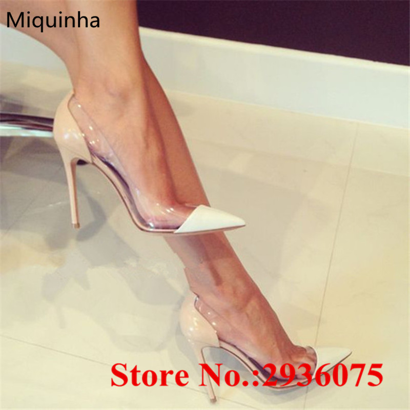 Sexy Suede Transparent PVC Patcchwork Women Pumps Pointed Toe Slip-on Stiletto High Heels Plexi Pumps Party Ladies Shoes Woman sexy women semi transparent lace high heels new 2017 ladies sequin shoes slip on thin heel pumps free shipping