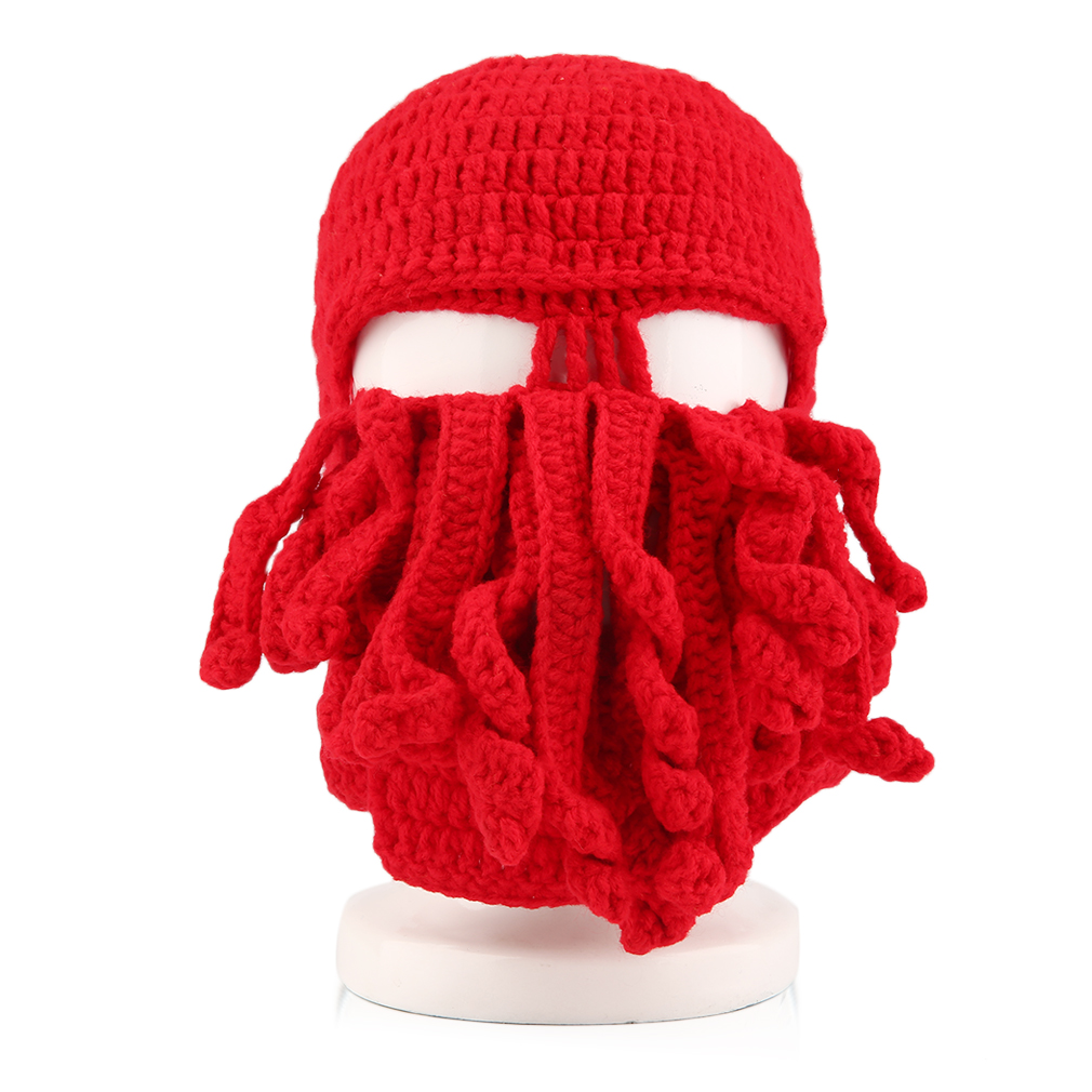 NEW Creative Handmade Knitting Wool Funny Animal Hats Beard Octopus Crocheted Tentacle Knit Caps Beanies for Men Women bomhcs funny wigs beard handmade knitting hats wanderers cap helloween party gifts